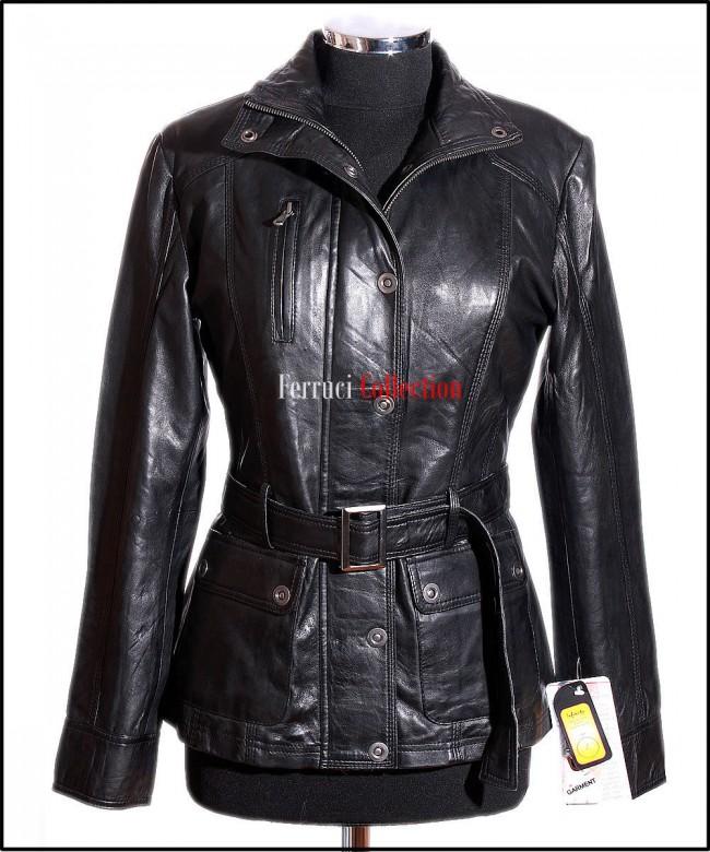 Natasha Black Ladies Women s Safari Style Vintage Look Real Waxed Leather  Jacket 094050a5248b