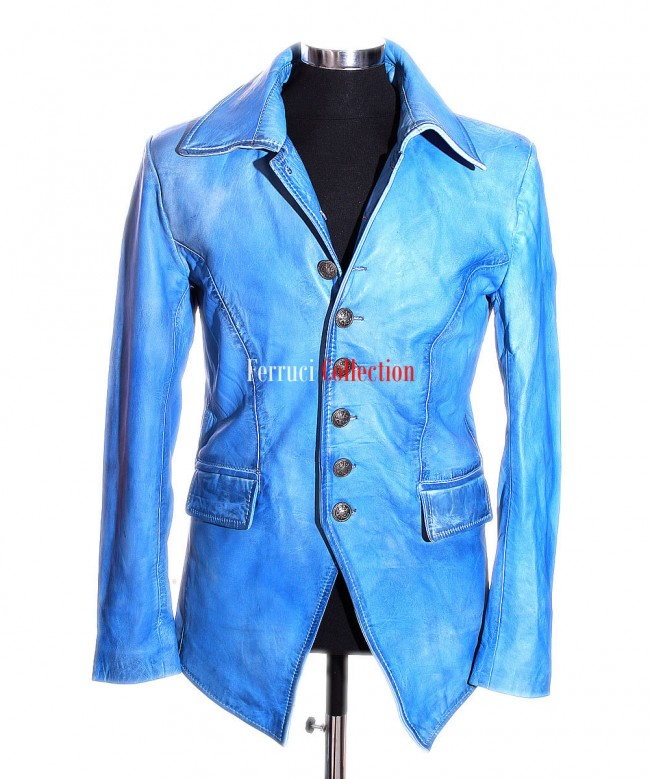 202fe0080 Mens Lucifer Blue Gothic Styled Sheep Leather Blazer Shirt Jacket ...