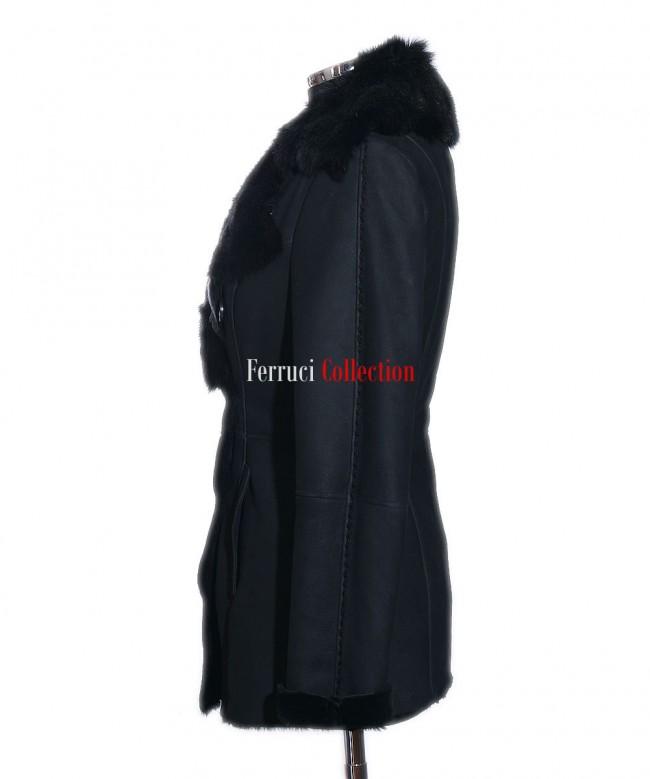 Amanda Black Ladies Short Spanish Toscana Marino Sheepskin Leather ...