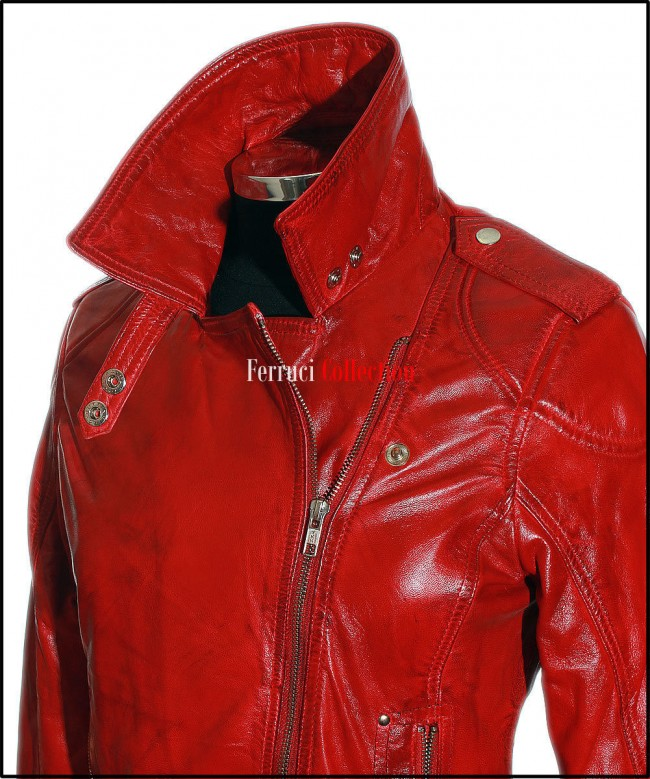 Katie Red Ladies Women/'s Rock Chic Retro Style Real Soft Sheep Leather Jacket