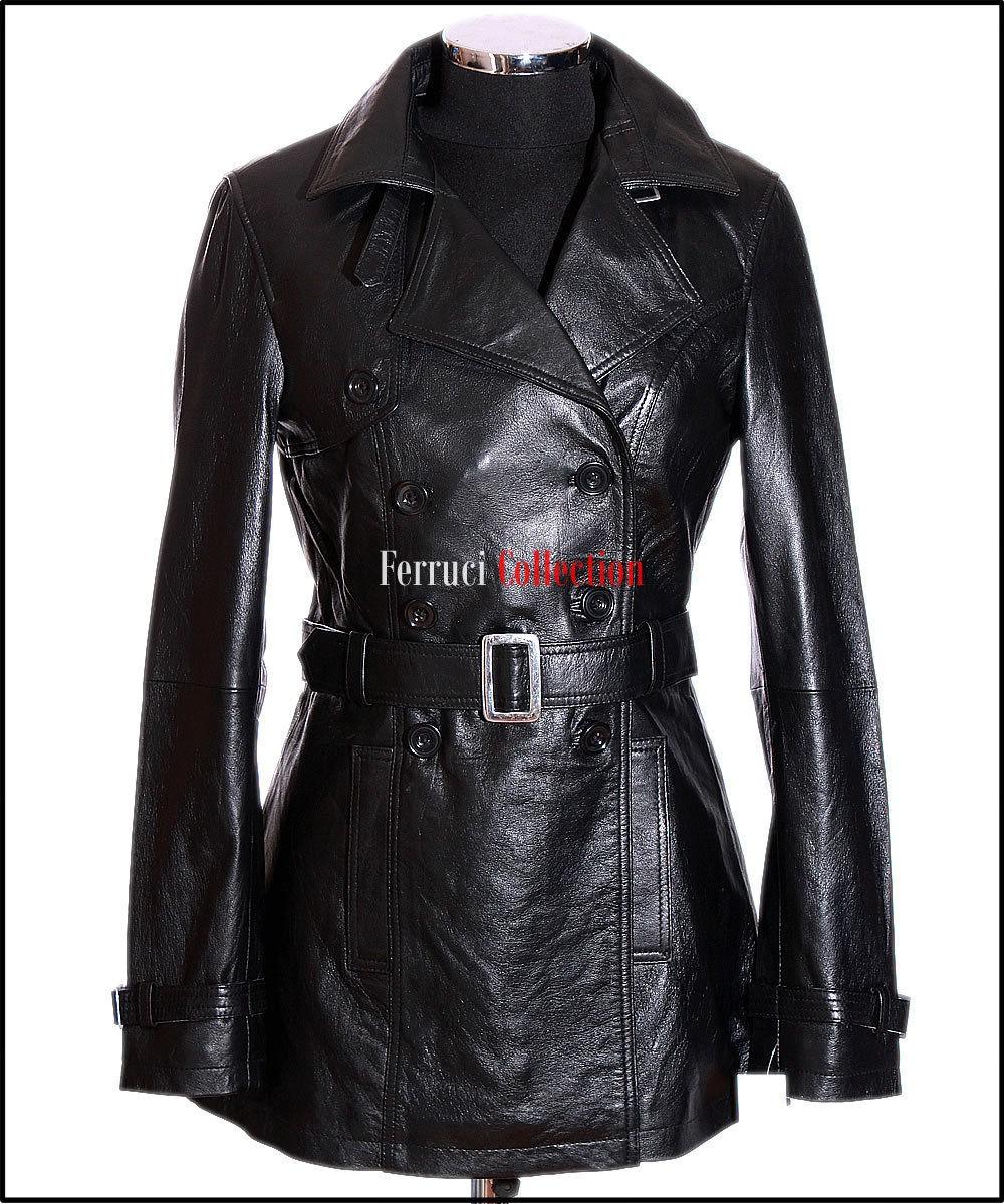 Felicia Black Ladies Womens Leather Jacket Trench Coat