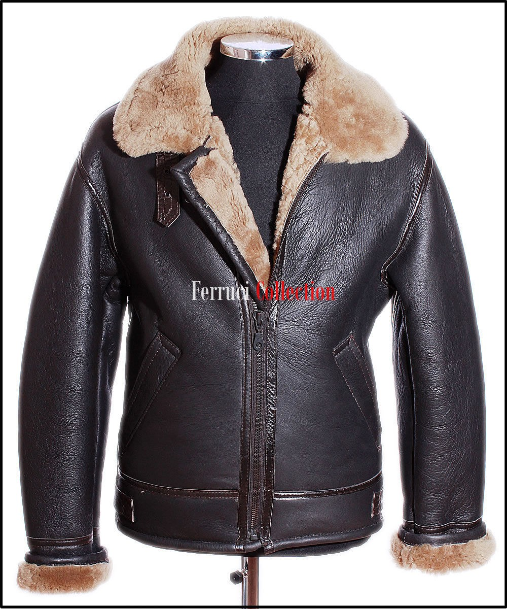 Men&39s Shearling B3 Brown Ginger Sheepskin RAF WW2 Bomber Leather