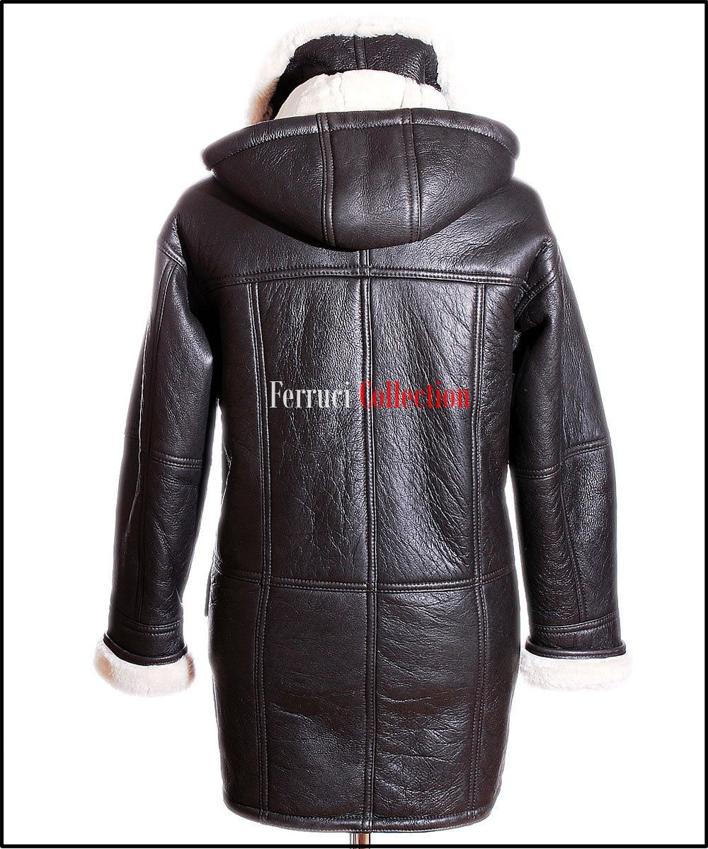 Theo Brown Mens Smart Winter Real Shearling Sheepskin Hooded